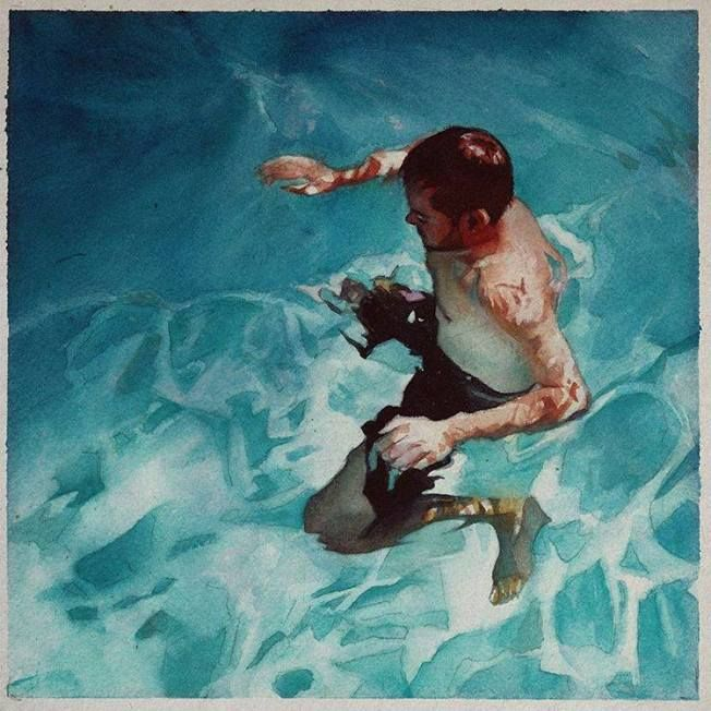 Saddend Watercolor Portraits Painting Underwater Art