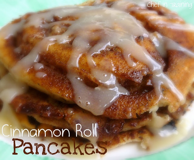 Cinnamon Roll Pancakes!  A fun spin on traditional pancakes and taste just like a cinnamon roll, only much easier!