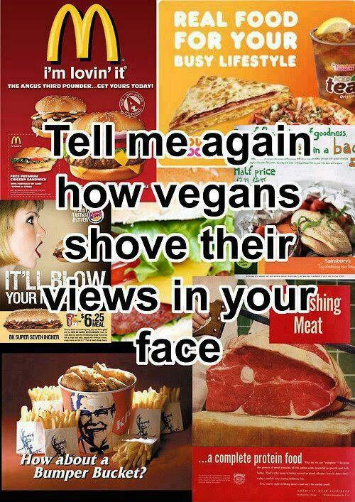 Thought this was appropriate since I just had a conversation with an individual who said that Vegans are too pushy with their views.  hmmmm