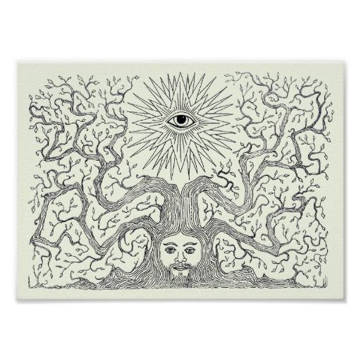 """""""Spirit of the Tree"""" psychedelic folk art Poster"""