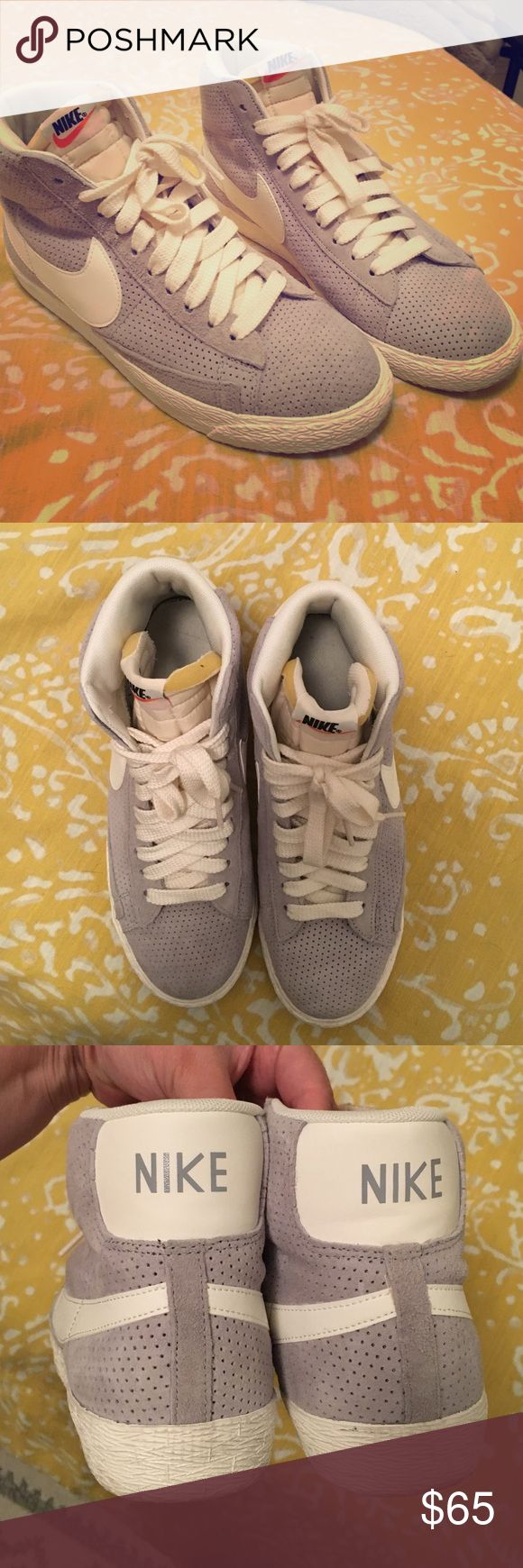Nike Suede High Top Sneakers Grey suede, with white Nike swoosh women's high top sneakers. Worn once or twice, near perfect condition. Nike Shoes Sneakers