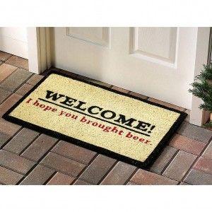 Welcome i hope you brought beer doormat welcome mat 9 for Wine cork welcome mat