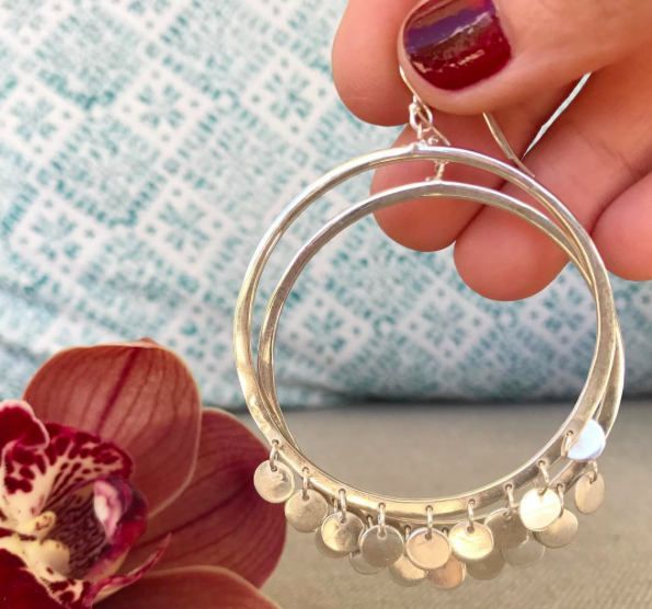 Sterling Silver Statement Hoop Earrings with Disks by marinasaker on Etsy
