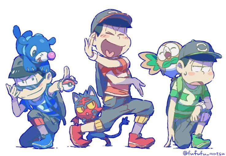 Osomatsu-san x Pokémon Sun and Moonn    Cross-Over [ Karamatsu Matsuno, Osomatsu Matsuno, Choromatsu, Matsuno. ]