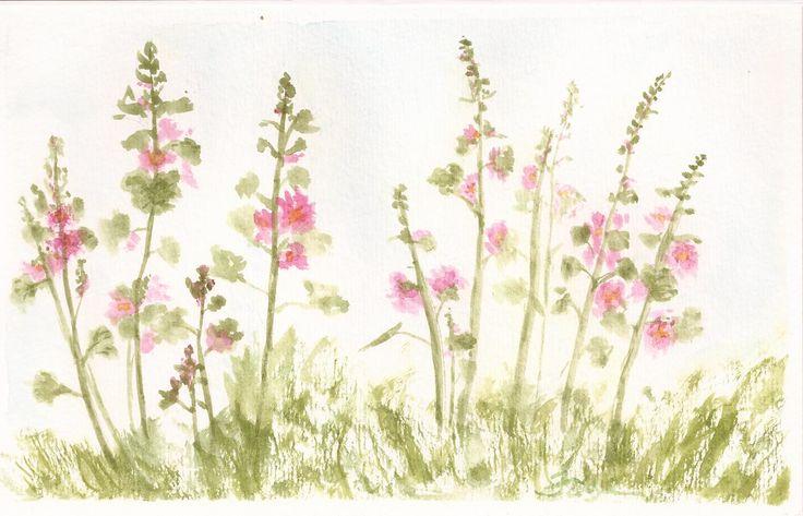Hollyhocks in my garden. Original watercolour by Faye Blondin