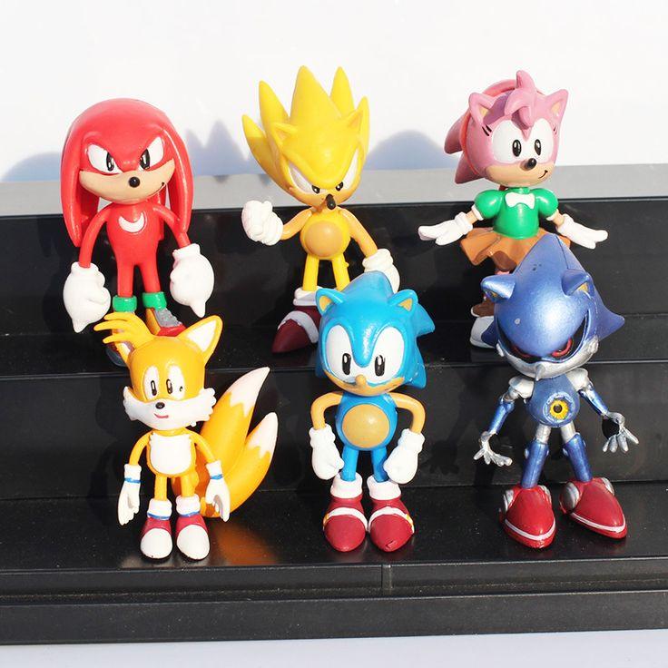 5 sets 1 компл. = 6 шт. Sonic The Hedgehog Соник Хвосты Knuckles Эми Роуз ехидна Тень еж Игрушки ИЗ ПВХ Фигура Куклы Для дети