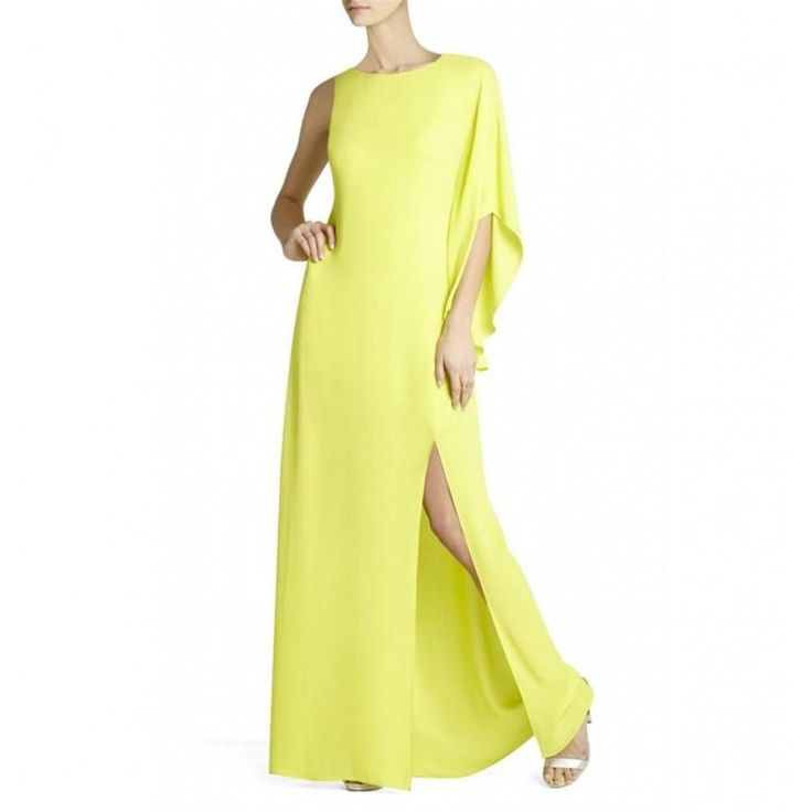 Bcbg Maxazria Janus Neon Green One Shoulder Dress