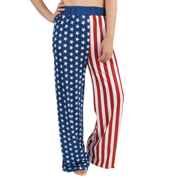 7.14 US Independence Day ladies Striped pants Women Loose Stretch American Flag Wide Leg Long Pants Legging Trousers TW  #Affiliate