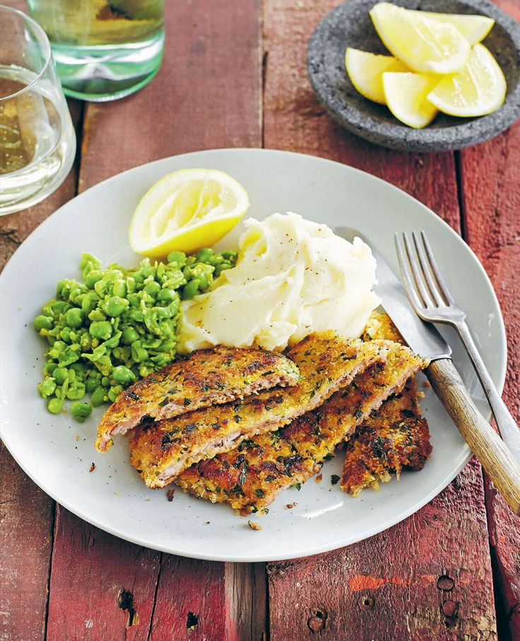 Veal schnitzel with mashed potato and smashed peas by Lyndey Milan from Taste of Australia | Cooked