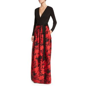 Diane von Furstenberg Kailey Long-Sleeve Floral-Print Combo Full Gown