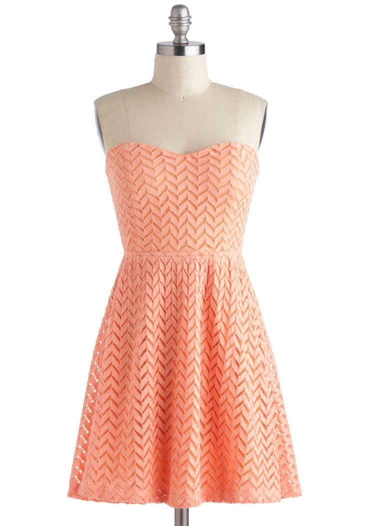 Little Bow Peach Dress - Short, Coral, Solid, Crochet, Cutout, A-line, Strapless, Sweetheart, Casual, Pastel