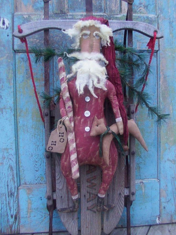 Primitive HO HO HO SANTA and REINDEER CHRISTMAS Doll Pattern  #hillkountrykrafts