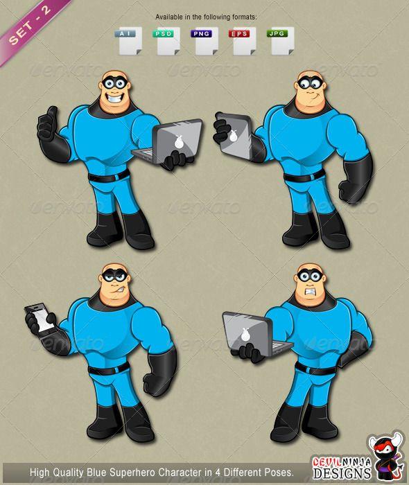 Blue Superhero Character Set 2