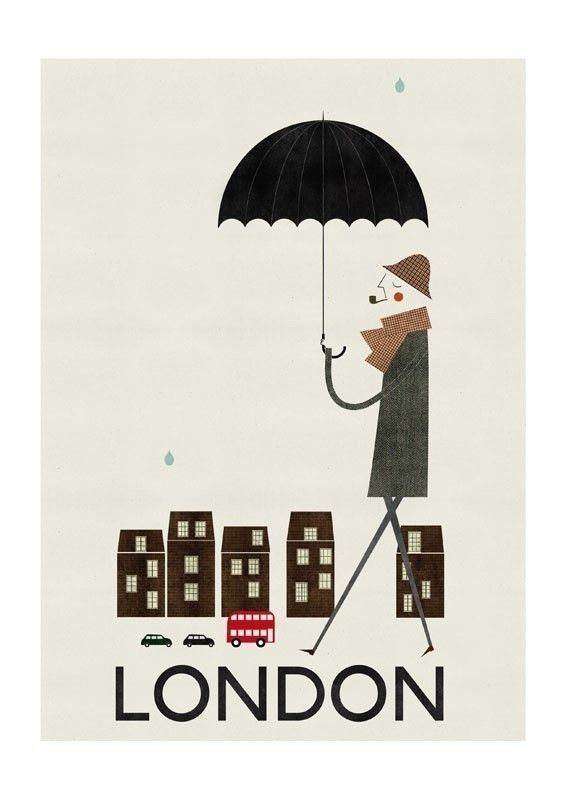 It's raining, it's pouring, the old man is... looking very dapper indeed strolling around London :)