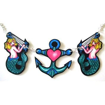 Tattoo style Mermaid and Anchor nautical tattoo inspired necklace by Dolly Cool via Etsy