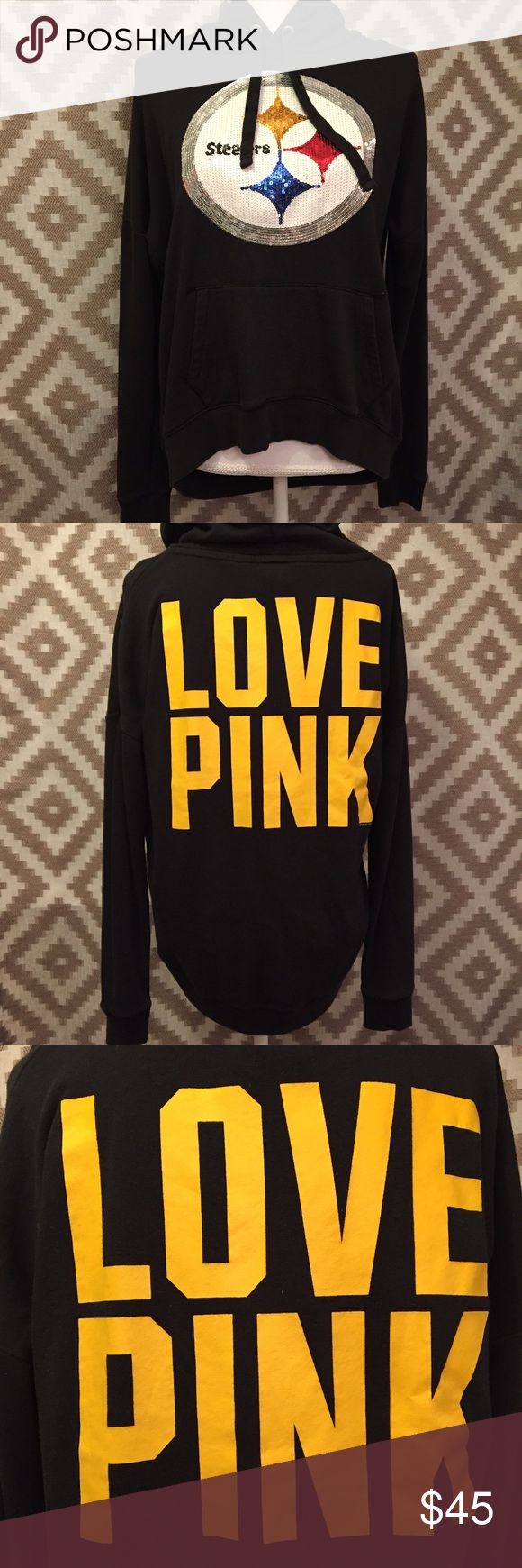 "VS Pink Sequined Steelers Slouchy Hoodie! Perfect condition sequined Victoria's Secret Pink Steelers Slouchy hoodie! It is French terry on the inside rather than the fuzzy material that is usually in hoodies! Slouchy design so the back is longer than the front! Back has a large yellow graphic that reads ""Love Pink."" Armpit to armpit measurement is 25 inches lying flat, length from shoulder to bottom is 23 inches in the front, and 26 inches in the back, sleeve length from armpit is 17 1/2…"
