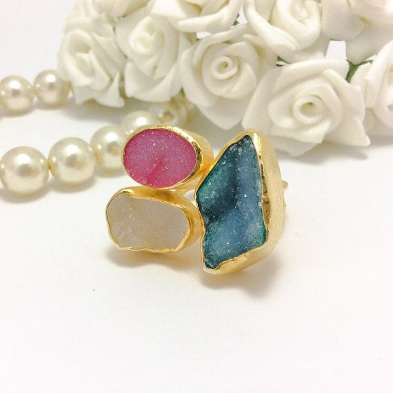 Three stone ring, druzy agate ring, sterling silver, bezel setting, druzy agate jewelry, gold plated, rhodium plated, bezel setting.