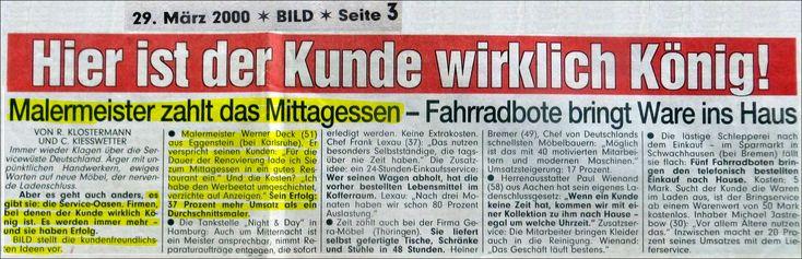 """Aus meinem Archiv. BILD-Zeitung am 29.03.2000 u.a. über malerdeck: """"Hier ist der Kunde wirklich noch König!"""" Service-Oasen!"""