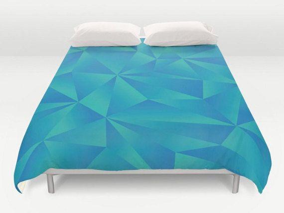 Blue Green Bedding Modern Duvet Cover Geometric Bedding
