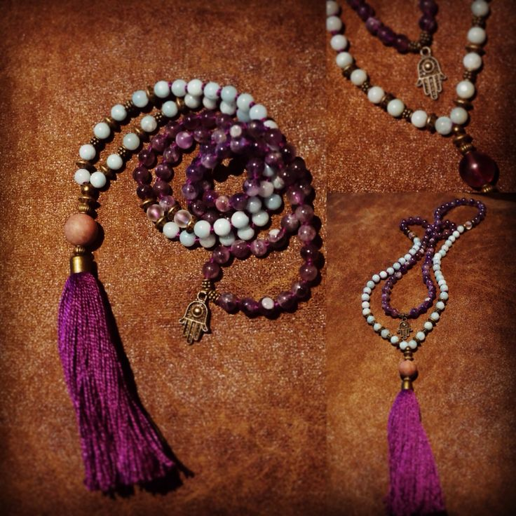 Blue amazonite and amethyst malabead neklace. Purple tassel