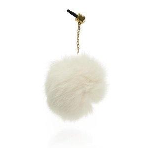 Bouchon anti-poussière - petit ballon de peluches blanc