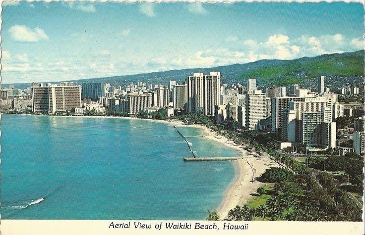 Vintage collectible 4  x 6  POSTCARD Waikiki Beach Hawaii 1978 aerial shot view | eBay