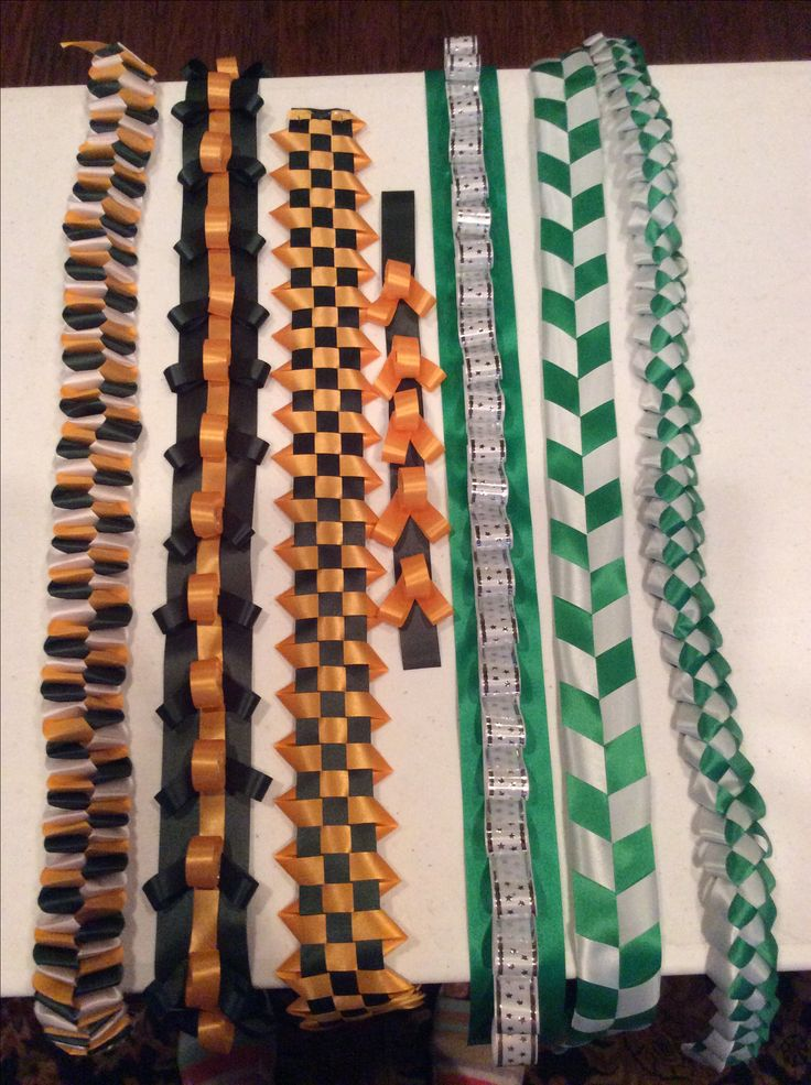 Examples of braids for homecoming mums I make.