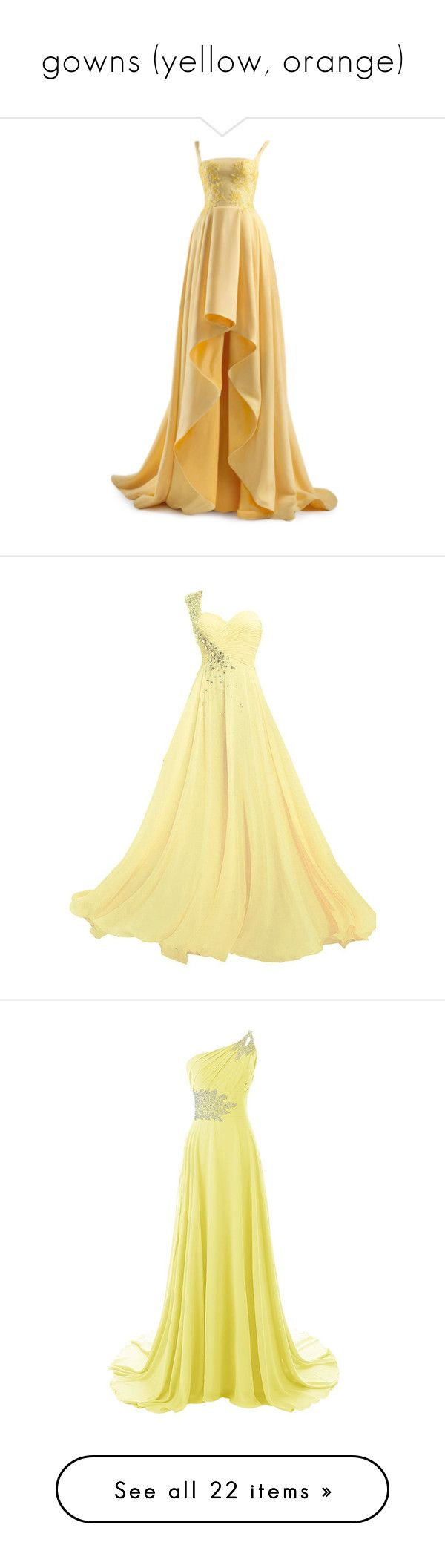"""gowns (yellow, orange)"" by mgdln97 ❤ liked on Polyvore featuring dresses, gowns, long dresses, satinee, ball gowns, beige evening dresses, beige dress, beige long dress, beige gown and gown"