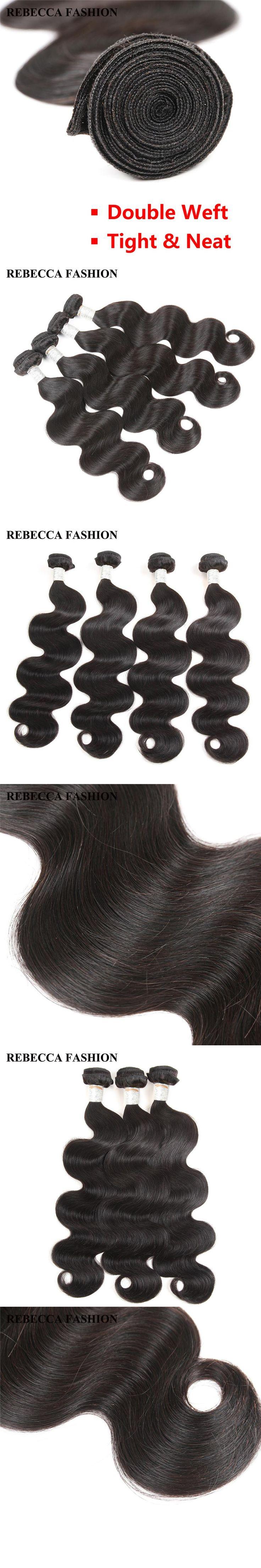 Rebecca Malaysian Hair Bundles Body Wave Remy Human Hair Extension 4 Bundles Hair Weft  Salon Bundle Hair Weave 8 to 30 inch