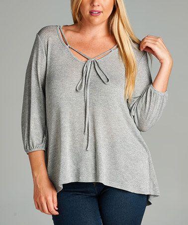 Look at this #zulilyfind! Silver Three-Quarter Sleeve Tunic - Plus #zulilyfinds