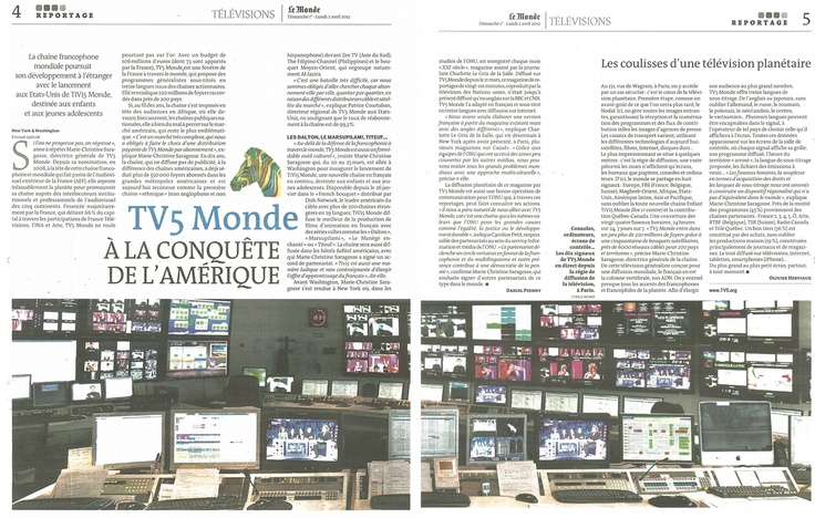"""TV5 Monde - A la conquête de l'Amérique"" (Le Monde Télévisions): L Univers Tv5Monde, Tv Centered Press, World"