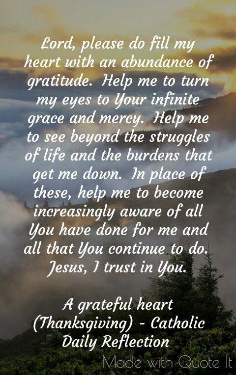A grateful heart. Catholic Daily Reflection
