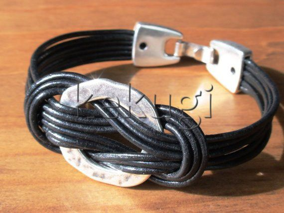 multi strap black leather bracelet with sterling silver plated spacers eternity link