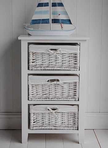 A white 3 drawer basket unit from The White Lighthouse