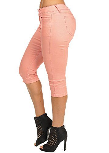 New Trending Pants: Cute Mid Rise Retro Stretchy Material Colored Casual Coral Denim Capris 10718H. Cute Mid Rise Retro Stretchy Material Colored Casual Coral Denim Capris 10718H  Special Offer: $16.99  199 Reviews Look hot and sexy in these cute and trendy high waisted capris. From trendy dress pants to stylish high waist, cute skinny pants or wide leg, to patterned or just basic...