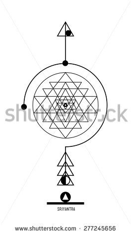 Sri Yantra. Buddhist Hindu tantric symbol  harmony and balance cosmos and the universe. Used in the design tattoo typography logos badges corporate identity  poster yoga Ayurvedic