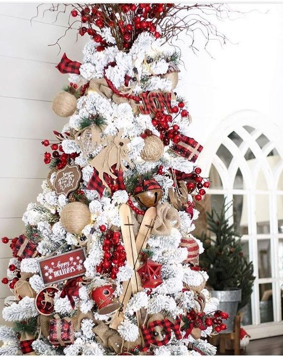 58 Gorgeous Farmhouse Christmas Tree Decoration Ideas Christmas Tree Themes Christmas Tree Decorations Christmas Decor Diy