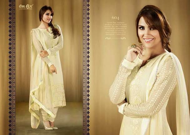 OFM-OMLARA-604 Ethnic Cream Georgette Kameez with santoon Bottom & inner. Heavy Thread Work makes it more beautiful. Chiffon dupatta included.
