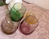Vintage Set of Four Colorful Cocktail Glasses Mid Century Decor Mid Century Country Cottage