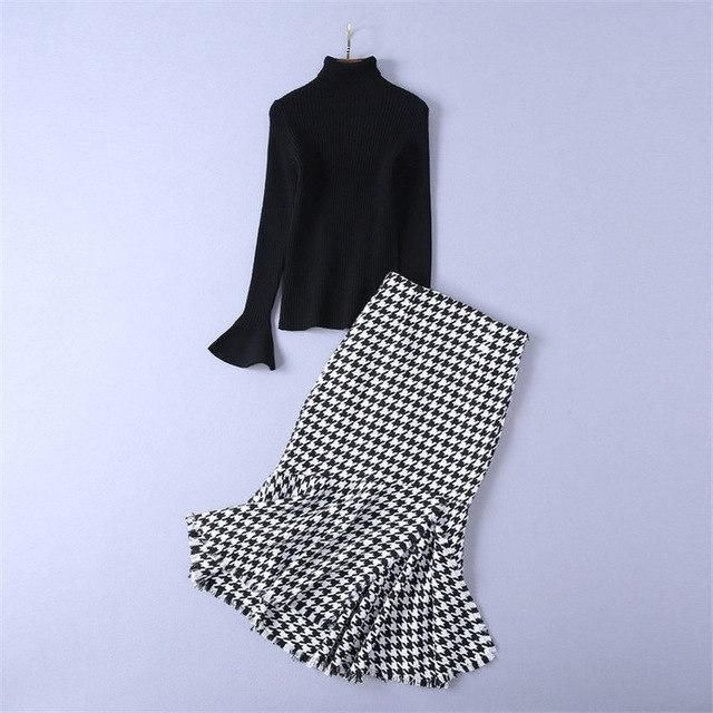 Skirt Suit 2018 Autumn Winter Fashion Black Turtleneck Knitted Sweater + Vintage Plaid Mermaid Skirt Two Piece Set Women Outfits 1