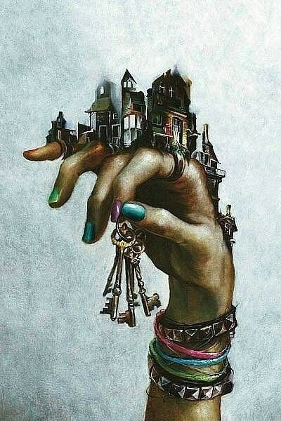 """I chose this image because of the thought process behind this piece. This image says so much about life and the world. To me this piece says """" The world is in your hands, and you have the keys to unlock it if you wish"""" I also love how the background is a grey, neutral colour to highlight the image and make it stand out that much more."""