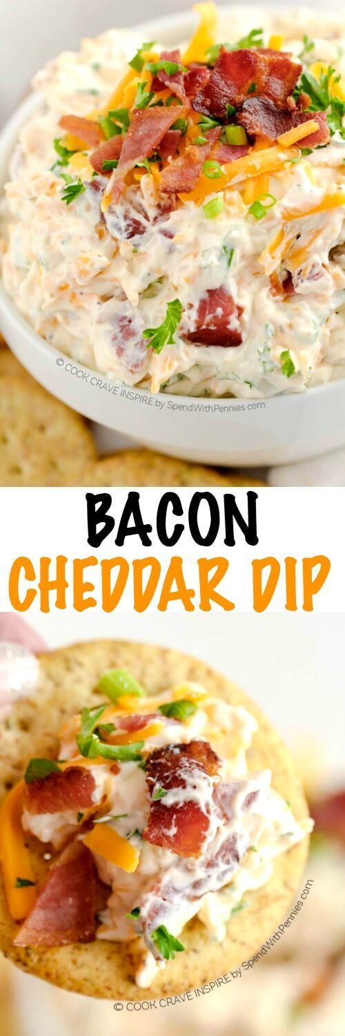 This amazing bacon cheese dip is served cold with loads of bacon and cheddar flavor!  This is the perfect dip for crackers, chips or vegetables!
