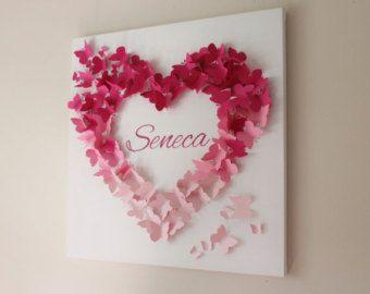 """20 """"x 20"""" personalizzato rosa Ombre farfalla parete arte - scuola materna - Nursery Decor - Baby Shower - personalizzata - Wall Art - regalo"""