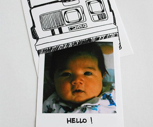 Follow Fresh Baked Paper Goods' DIY tutorial to make these adorable Polaroid Birth Announcements. The retro vibe is perfect for the Instagram generation! Source: Fresh Baked Paper Goods
