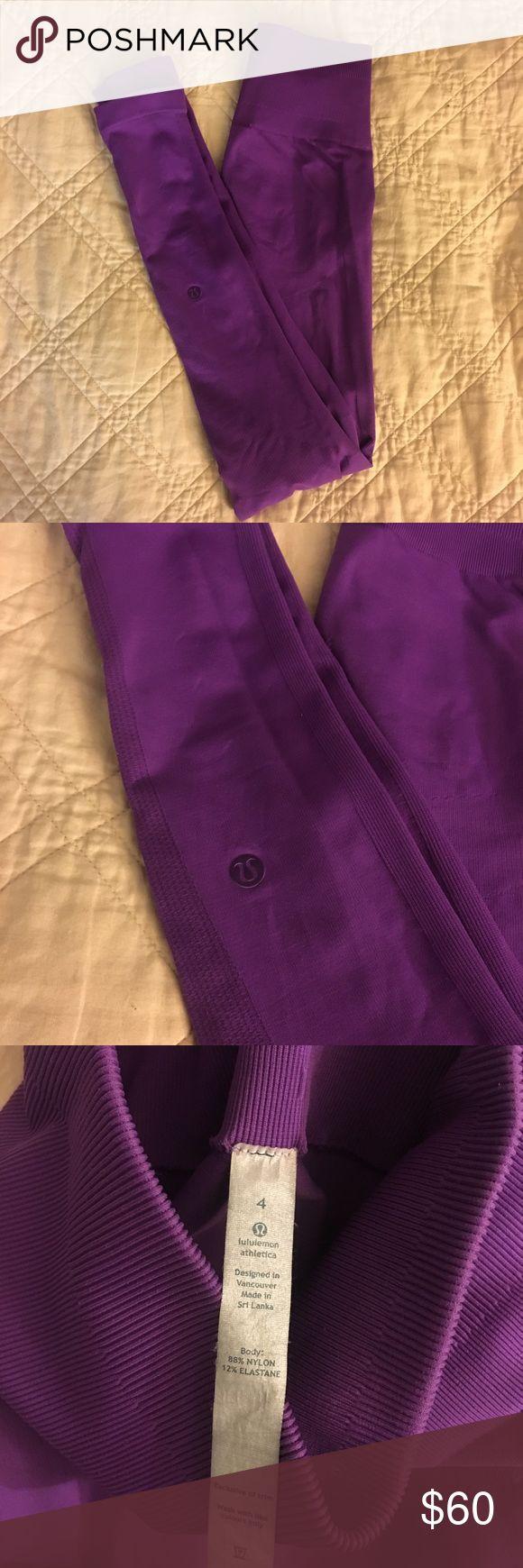 Lululemon athletica leggings - seamless size 4 Lightly used, no signs of wear lululemon athletica seamless leggings. Purple, size 4. lululemon athletica Pants Leggings