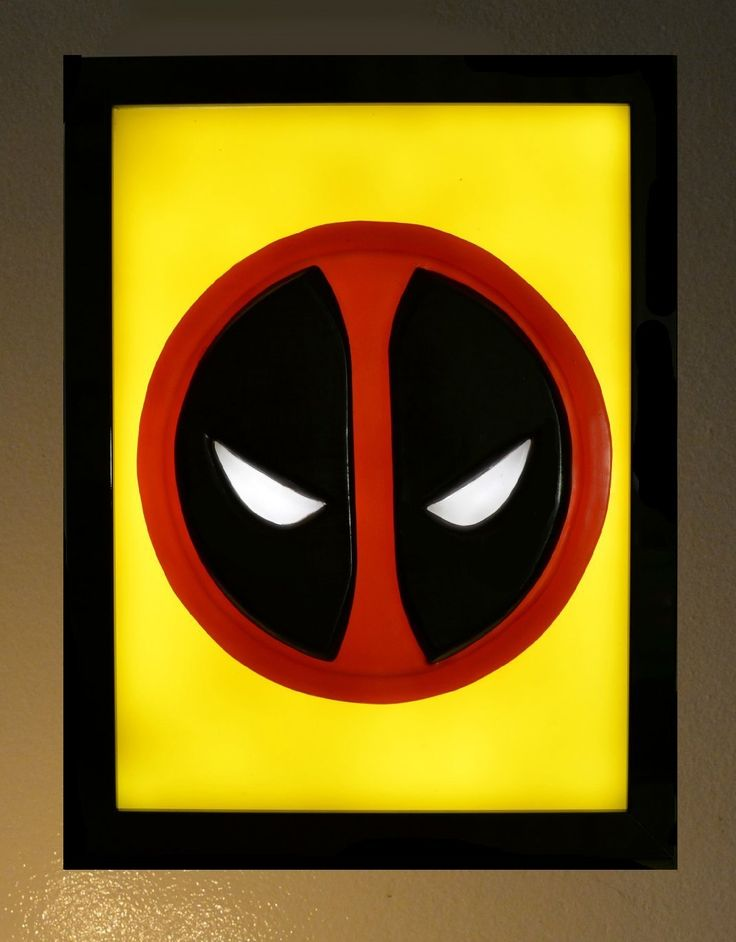 "Deadpool Symbol Emblem wax painting Led light box. Deadpool is a disfigured and mentally unstable mercenary with the superhuman ability of an accelerated healing factor and physical prowess. He is known as the ""Merc with a Mouth"" because of his talkative nature and tendency to break the fourth wall, which is used by writers for a humorous effect More Information: This piece is ready to hang, framed in a high quality frame with a black gloss finish. Made to order so you can customize it to..."
