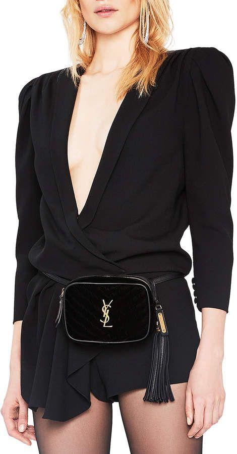 b9d12e76e Saint Laurent Velvet Monogramme Lou Hip Belt with Pouch | Handbags ...