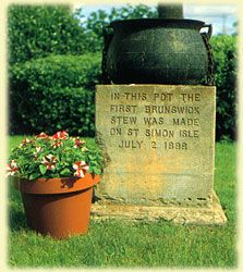 In this pot the first Brunswick Stew was made on July, 2, 1888. Brunswick, GA.
