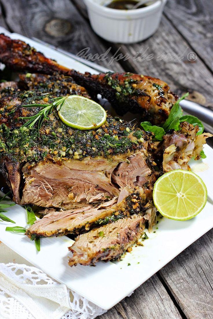 Food for the soul: Печено агнешко бутче с билки и ментово песто с див чесън