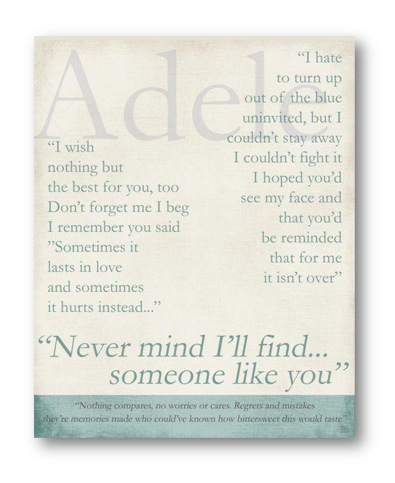 Someone Like You / Adele / Lyric / 8x10 by ataglancegraphics, $10.00